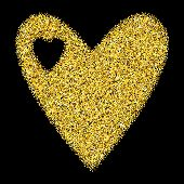 Gold Glitter Heart Isolated Over Black Background. Happy Valentines Day Golden Glamour Design Elemen poster