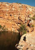 cottonwood lake and sandstone cliffs