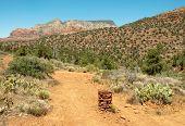 rock trail marker pile an Sedona buttes