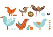 Orange blue Birds vector set