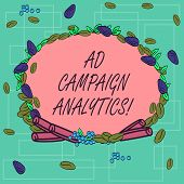 Word Writing Text Ad Campaign Analytics. Business Concept For Monitor Campaigns And Their Respective poster