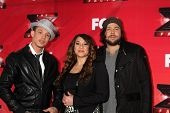 LOS ANGELES - DEC 19:  Chris Rene, Melanie Amaro, Josh Krajcik at the FOX's