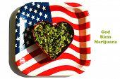Marijuana. Dried Marijuana Leaves and Flowers in a Heart Shape. Ganga in a Red Heart Shape Cookie Cu poster