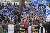 TOMSK, RUSSIA - APRIL 5: Fans of Football Club Zenit at the match Championship of Russia among Tom'(