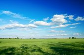 Large Piece Of Land And Blue Cloudy Sky