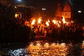 HARIDWAR, INDIA - JANUARY 14: Night puja ceremony on the banks of Ganga river. People celebrate Kumb