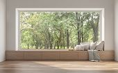 Side Window Seat 3d Render.there Are White Room,wood Seat,decorate With Many Pillow.there Are Big  W poster
