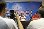 TOMSK, RUSSIA - AUGUST 1: Arthur Zico - head coach of FC CSKA (Moscow), at a press conference after the match Tom'(Tomsk) - CSKA (Moscow), August 1, 2009 in Tomsk, Russia.