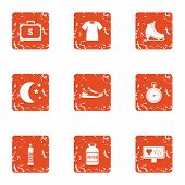 Medical Pulse Icons Set. Grunge Set Of 9 Medical Pulse Icons For Web Isolated On White Background poster