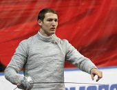 MOSCOW, RUSSIA - FEBRUARY 14: Germany's Nicolas Limbach competes at the 2010 RFF Moscow Saber World Fencing Tournament, February 14, 2010 in Moscow, Russia.