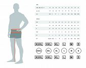 Measurements For Clothing. Vector Illustration Of The Dimensions Of The Male Waist And Hips. Size Ch poster