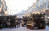 MOSCOW - APRIL 29: Russian army military vehicles in downtown Moscow on Tverskaya Street near Red Sq