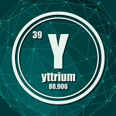 Yttrium Chemical Element. Sign With Atomic Number And Atomic Weight. Chemical Element Of Periodic Ta poster