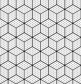 Seamless Op Art Geometric Pattern. 3d Illusion. White Isometric Background And Texture. Vector Art. poster