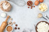 Baking Concept, Baking Ingredients On Background. Ingredients For Baking Cake, Cookies, Bread Or Pas poster