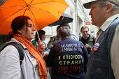 MOSCOW - JUNE 10: People perturbed by the actions of the police in breaking up rallies, filed a comp