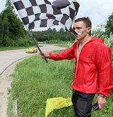 DMITROV, RUSSIA - JUNE 13: The finish line (Lotus Exige) at Championship 'Rus Hill climb Open' at avtopoligone NIITSAMT, June 13, 2010 in Dmitrov, Russia.