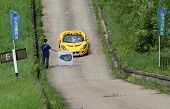 DMITROV, RUSSIA - JUNE 13: A unidentified participant reaches the top in Lotus Exige in the first Ch
