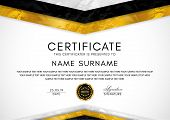 Certificate Template With Geometry Frame And Gold Badge. White Background Design For Diploma, Certif poster