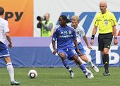 MOSCOW - JULY 3: Dynamo Kyiv's midfielder Frank Temile (C) in the VTB Lev Yashin Cup: FC Dynamo Moscow vs. FC Dynamo Kyiv (2:0), July 3, 2010 in Moscow, Russia.