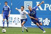 MOSCOW - JULY 3: Dynamo Moscow midfielder Igor Semshov (L) fnd Dynamo Kyiv defender Evgeniy Hacherid