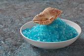 Spa And Body Care Products. Colorful Aromatic Bath Dead Sea Salt And Black Dead Sea Mud. Natural Ing poster
