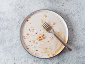 Empty Dirty Dish After Cheesecake With Caramel Sauce And Dessert Fork. White Rustic Trendy Modern Fa poster