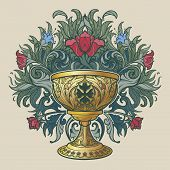 Decorative Goblet. Medieval Gothic Style Concept Art. Design Element. Hand Drawn Image Isolated On D poster