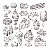 Sketch Dessert. Cake, Pastry And Ice Cream, Apple Strudel And Muffin In Vintage Engraving Style. Han poster