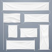 Textile Banners. White Blank Cloth Horizontal, Vertical Banners And Flag. Fabric Advertising Ribbons poster