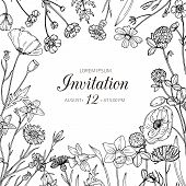 Wildflower Background. Wedding Invitation With Summer Wild Meadow Flowers. Spring Floral Retro Sketc poster