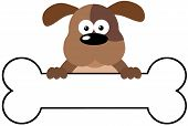 Cartoon Dog Over A Bone Banner
