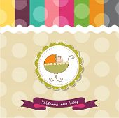 baby shower card with baby and pram