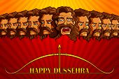 picture of dussehra  - vector illustration of Raavana in Happy Dussehra - JPG