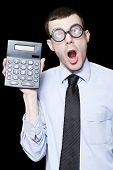 Surprised Mathematical Man With Financial Solution