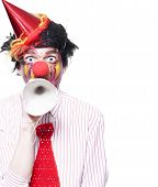 Birthday Clown Making Invitation To Party Guests