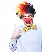 Circus Clown With Thumb Up To Carnival Advertising