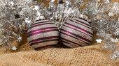 Two Purple Christmas Balls Isolated