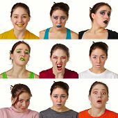 Nine Useful Facial Expressions With Matching Colored Makeup....