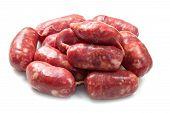 image of raw chicken sausage  - fresh raw sausage isolated on white background - JPG