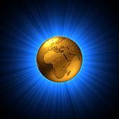 Shining Gold Globe Symbol