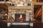 Rustic Fireplace And Cabin