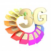 picture of micro-sim  - 3G golden emblem surrounded with circuit microchip SIM cardS isolated on white background - JPG