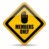 picture of fellowship  - Members only vector sign isolated on white background - JPG