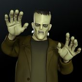foto of frankenstein  - 3 d cartoon halloween horror Frankenstein monster - JPG