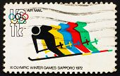 Postage Stamp Usa 1972 Skiing And Olympic Rings