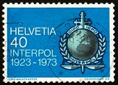 Postage Stamp Switzerland 1973 Interpol Emblem