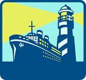 Passenger Ship Cargo Boat Lighthouse Retro