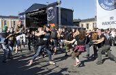 Fans moshing at Tuska Festival