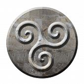 stock photo of triskelion  - Ancient celtic triskele symbol on carved stone circle - JPG